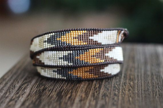 Loom Beaded Wrap Bracelet - Gold, Silver, White, and Grey Seed Beads on Brown Leather