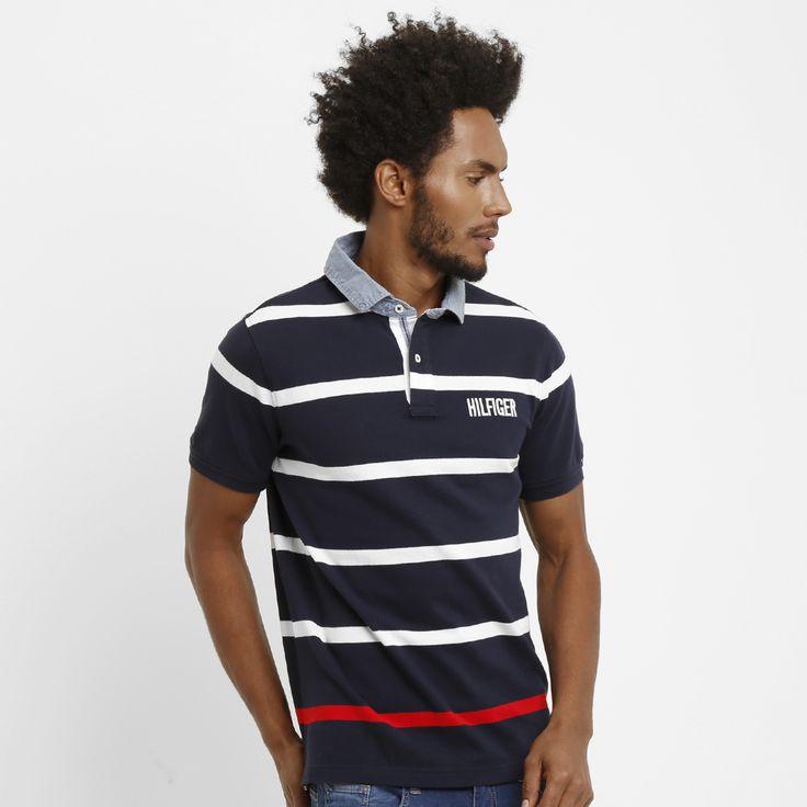 Camisa Polo Tommy Hilfiger Piquet Slim Fit Marinho | Zattini