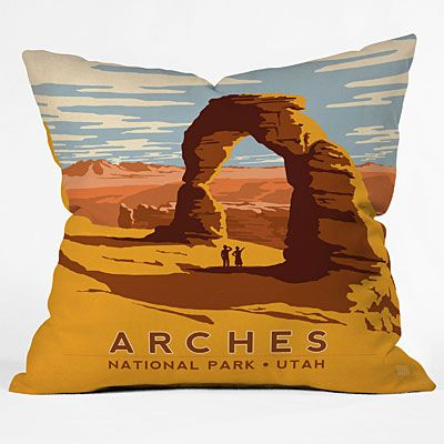 Arches outdoor pillow.  Maybe you can't leave your house to travel every weekend, but that doesn't mean you can't bring the travel to your outdoors.