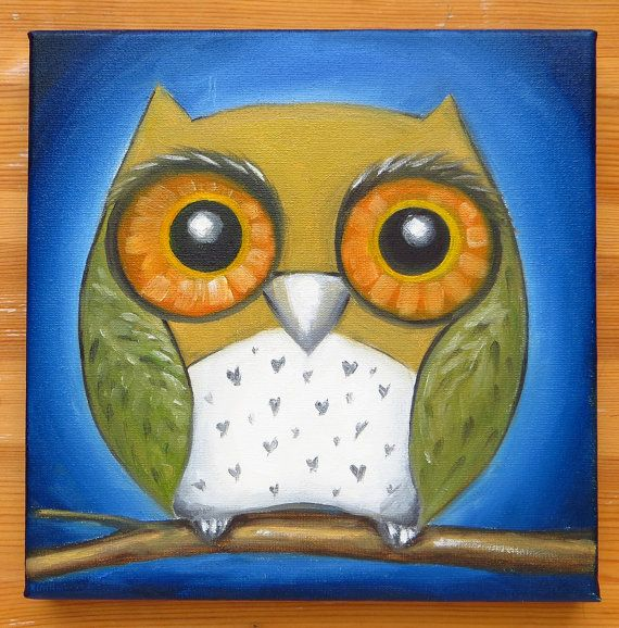 Owl Original Art Wild Animals Square Oil Painting by MikiMayoShop