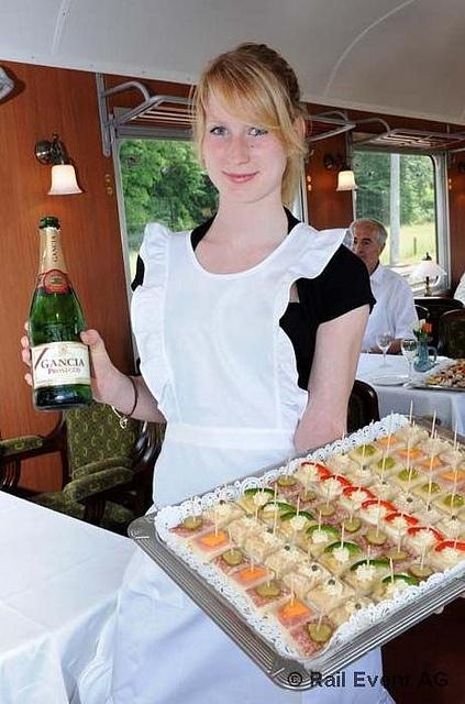 1st class train food in Switzerland -- wine and chocolate