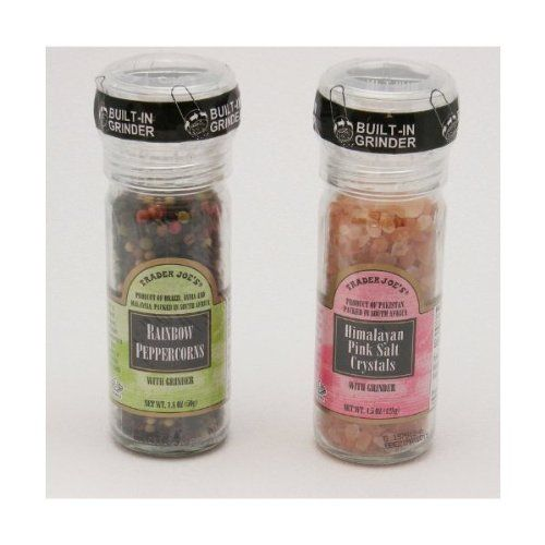 Trader Joe's Gourmet Set with Grinder Tops: Rainbow Peppercorns/Pink Himalayan Salt Crystals - http://spicegrinder.biz/trader-joes-gourmet-set-with-grinder-tops-rainbow-peppercornspink-himalayan-salt-crystals/