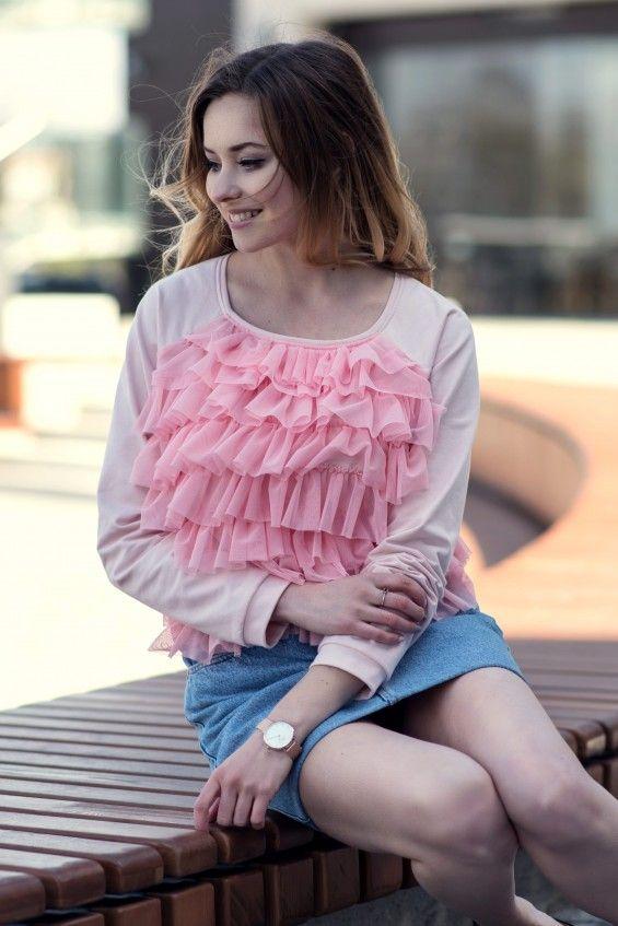Bluza z falbankami Różowa cranberry