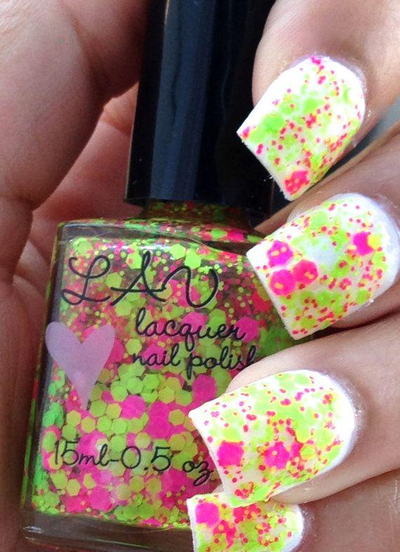NEON Love / NEON Pink / NEON Green Custom Handmade Glitter Nail Polish / Indie Polish / Lacquer