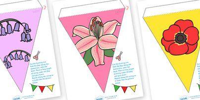 Twinkl Resources >> Flower Display Bunting  >> Classroom printables for Pre-School, Kindergarten, Primary School and beyond! flowers, plants, flower display, garden,