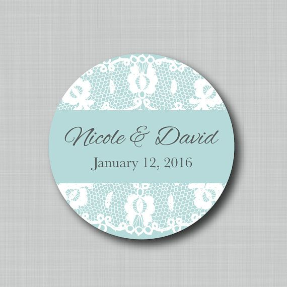 Custom Wedding Favor Labels Lace Overlay by StickEmUpLabels, $5.50