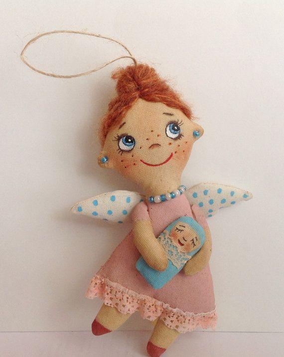 Cloth doll-Doll Angel-Soft Doll-Miniature by NatashaArtDolls