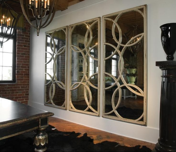 love this wall of mirrors for the formal dining room....circles are so chic