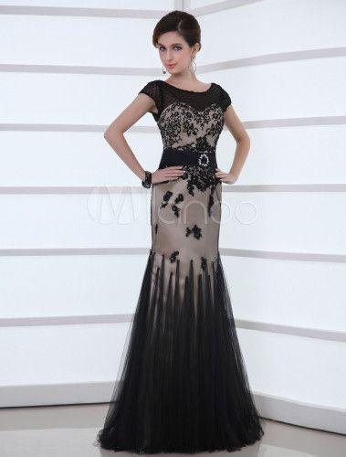 robe de soire fourreau noire en gaze col rond trane milanoocom - Milanoo Robe De Soiree Pour Mariage