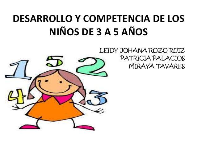 DESARROLLO Y COMPETENCIA DE LOS NIÑOS DE 3 A 5 AÑOS LEIDY JOHANA ROZO RUIZ PATRICIA PALACIOS MIRAYA TAVARES