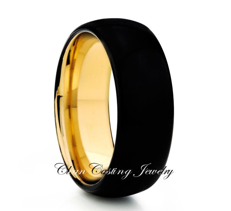 Black Tungsten Wedding Band,Black Tungsten Wedding Ring,18K Yellow Gold,Anniversary Ring,Engagement Band,Comfort Fit,High Polish,Custom,Set by CleanCastingJewelry on Etsy https://www.etsy.com/listing/234178648/black-tungsten-wedding-bandblack