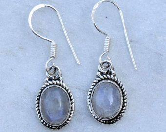 Moonstone orecchini, orecchini, arcobaleno, StoneEarrings, pietra di luna nel post di orecchini, orecchini argento, orecchini, pietra, orecchini indiani