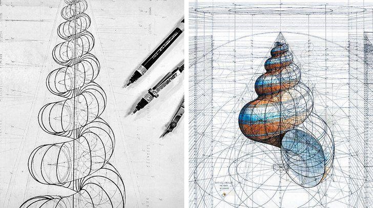 15 Dibujos De Un Artista Que Muestran La Belleza De La Geometria Aplicada Al Mundo Que Nos Rodea Dibujos Artistas Produccion Artistica