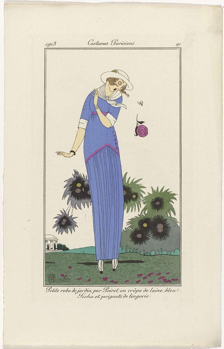 Anonymous | Journal des Dames et des Modes, Costumes Parisiens, 1913, No. 99 : Petite robe de jardin..., Anonymous, Paul Poiret, 1913 | Vrouw in een jurk voor in de tuin van blauwe 'crêpe de laine', van Poiret. Fichu en manchetten of 'poignets de lingerie'. Zij schrikt van een bij en laat daardoor een bloem vallen. Prent uit het modetijdschrift Journal des Dames et des Modes (1912-1914).