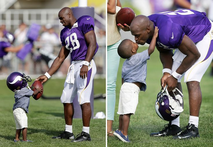 Adrian Peterson and his son Adrian Peterson Jr. This is not the son that tragically pasted away October 11th 2013.