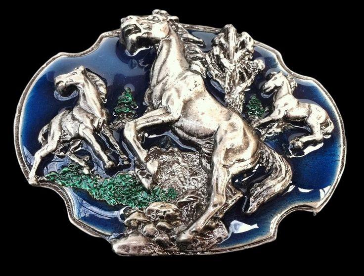 Wild Horses Horse Cowboy Western Belt Buckle Buckles Boucle de Ceinture #horses #broncos #animals #Casual #beltbuckle #buckles