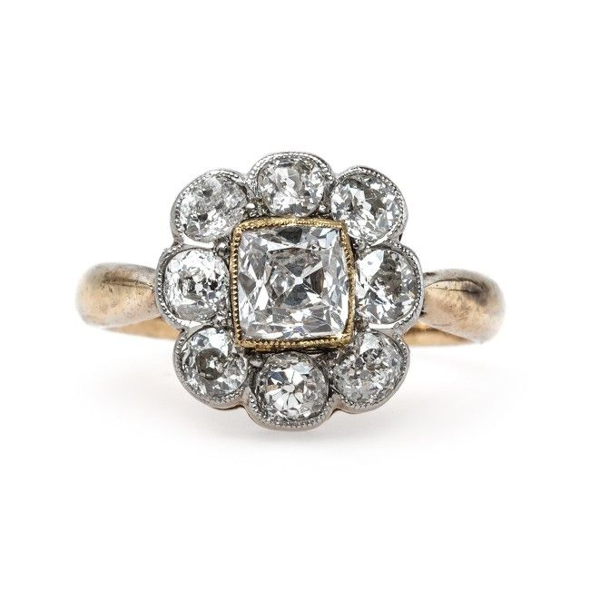 Unique Victorian Era Halo Engagement Ring with Cushion Square Diamond Center | Granada from Trumpet & Horn