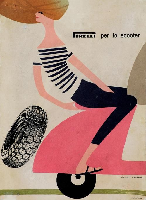 1960s Pirelli Advert for Scooter Tyres