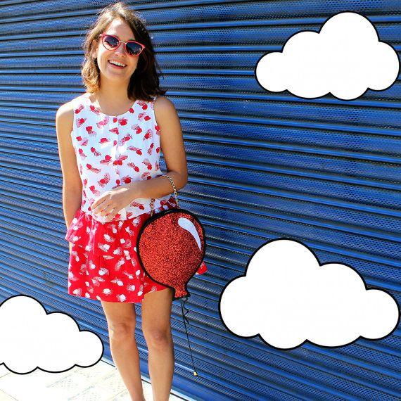 Glitter rosso palloncino frizione borsa di LunaontheMoon su Etsy