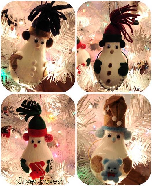 Light bulb snowman Christmas tree ornaments