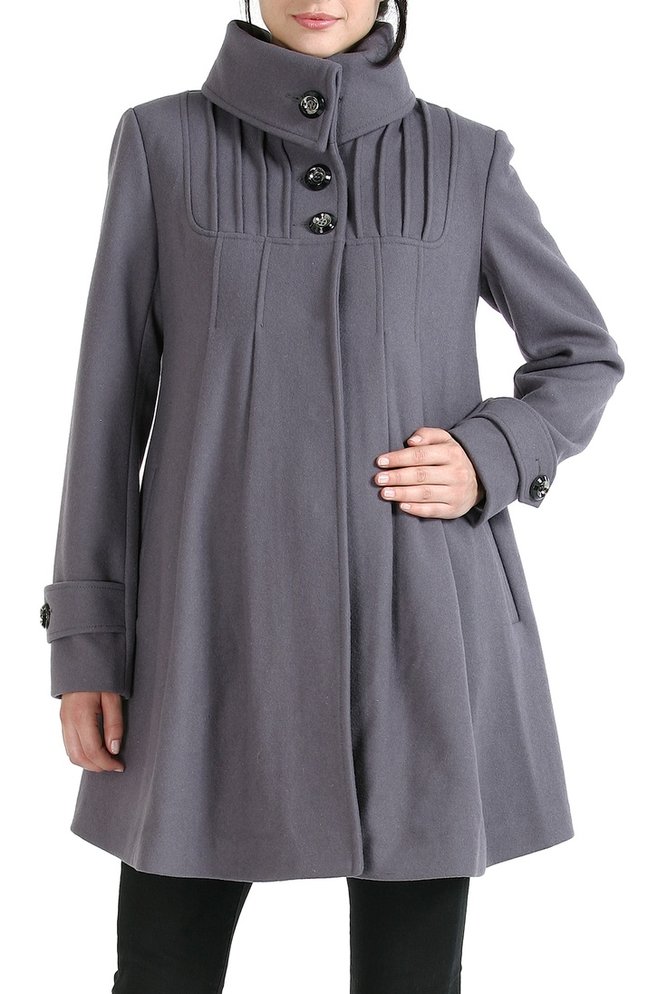 Wool Blend 'Jessie' Pleated Swing Coat in Gray | For my