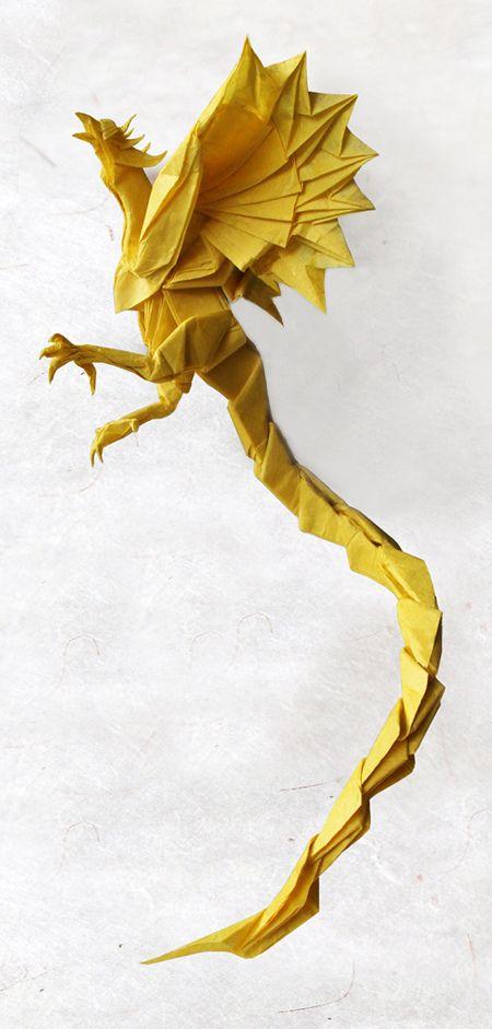 CP by Satoshi Kamiya. Folded by by nyanko sensei. Size: 60 x 60 cm. Mulberry paper.