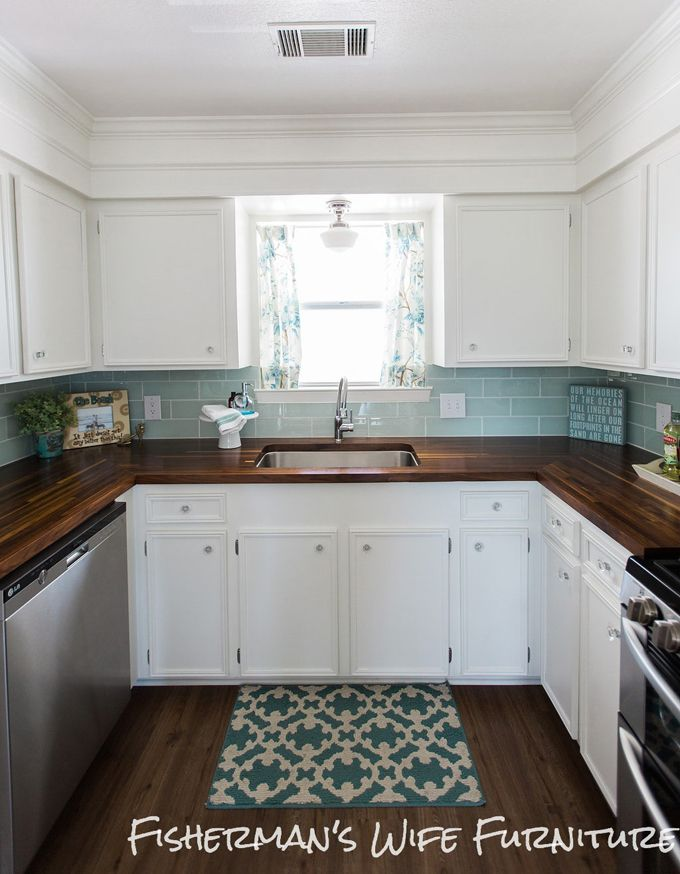 U-Shaped Kitchen, white, blue, and WOOD countres // House of Turquoise: Fisherman's Wife Furniture