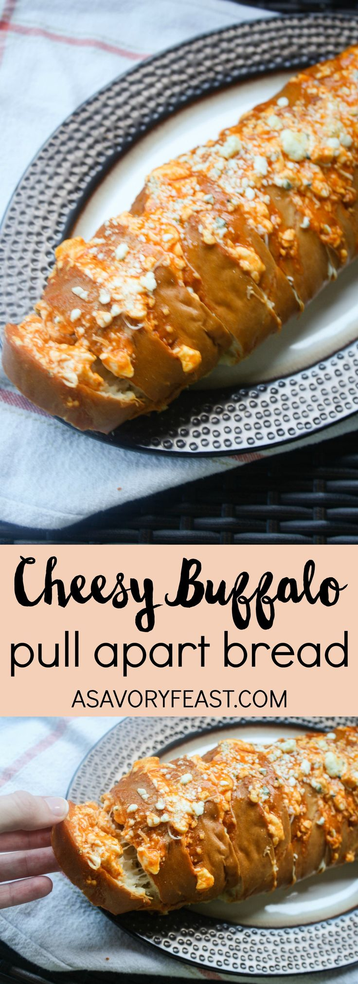 This is the perfect game day appetizer! Cheesy Buffalo Pull Apart Bread is so simple to assemble but sure to impress. Extra cheesy and packed with buffalo flavor, your guests will be begging for more!