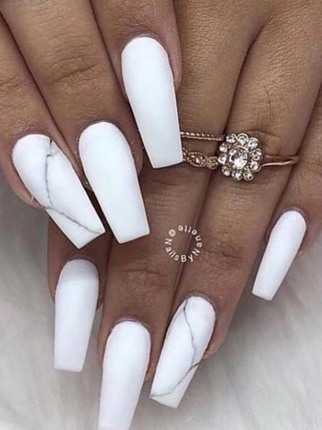 White Nails Coffin : white, nails, coffin, Coffin, Nails, Ideas, Everyone, White, Acrylic, Nails,, Matte,, Matte, Design