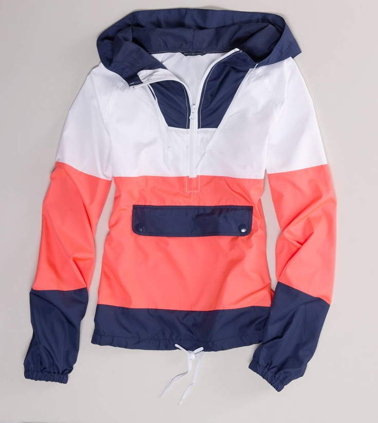 Navy, White & Coral Windbreaker