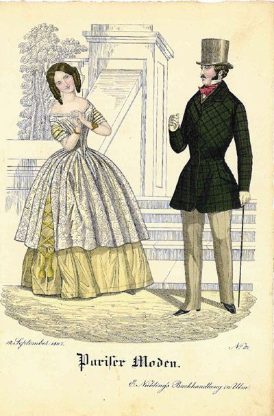 oldrags:  Fashion plate, 1847 Germany, Pariser Moden