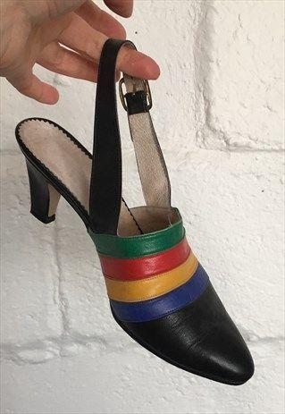 b5a29a19c81 Vintage+Rainbow+Stripe+Slingback+Shoes