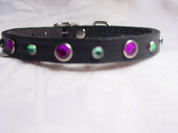 Black Leather Dog Collar with Crystal Rivets by frisado. Explore more products on http://frisado.etsy.com