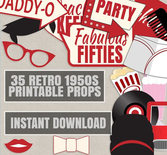 35 Retro 50s Theme Party Props Red and Cream by YouGrewPrintables
