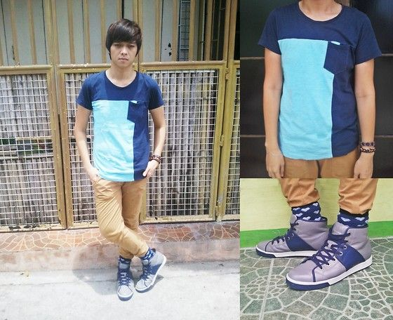 Get this look: http://lb.nu/look/3512365  More looks by Chiz Madrigal Corre: http://lb.nu/chizcorre  Items in this look:  Mint Two Toned T Shirt, Abercrombie & Fitch Chino Pants, Bench Blue Printed Socks, Armani Exchange Shoes, Sm Accessories Bracelets