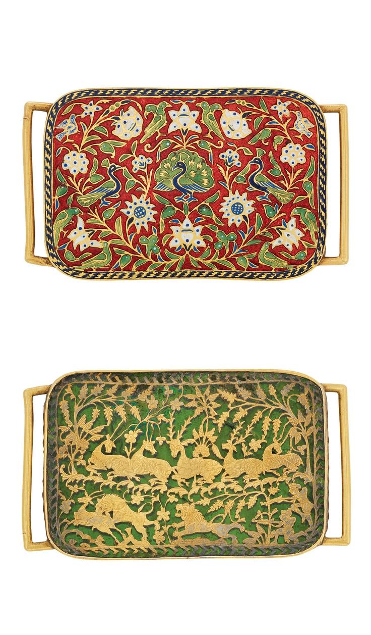 Antique Indian Gold, Enamel and Green Plique-a-Jour Enamel Belt Buckle