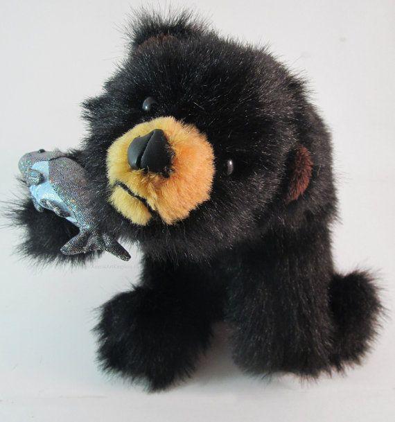 Handmade Sitting Black Bear Cub with Fish by AnimalArtKingdom