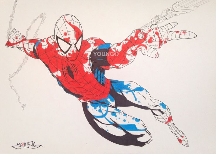 Spiderman 2 A3  Pen and Coloured Pencil