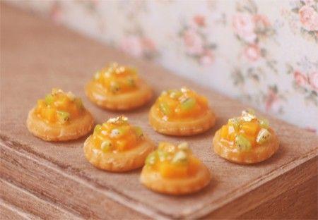 Miniature Food - Dollhouse Mango Kiwi Fruit Tarts