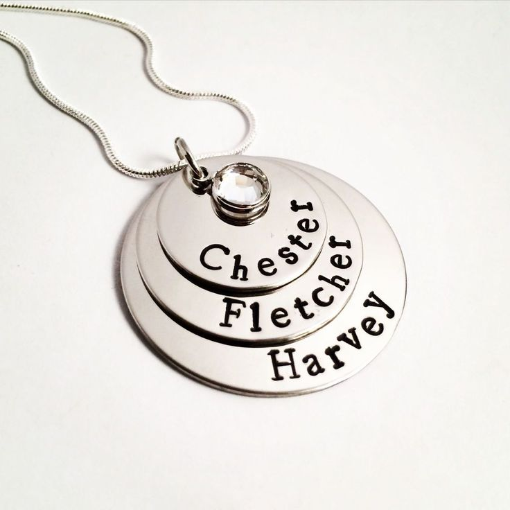 This is a lovely necklace to keep the names of your loved ones close to your heart,. This is also a lovely present for a Mum or female relative. Use dates in the piece too and make it into a lovely Wedding present with the date on the top and the names below. Complete with a lovely Swarovski channel charm in a colour of your choice.