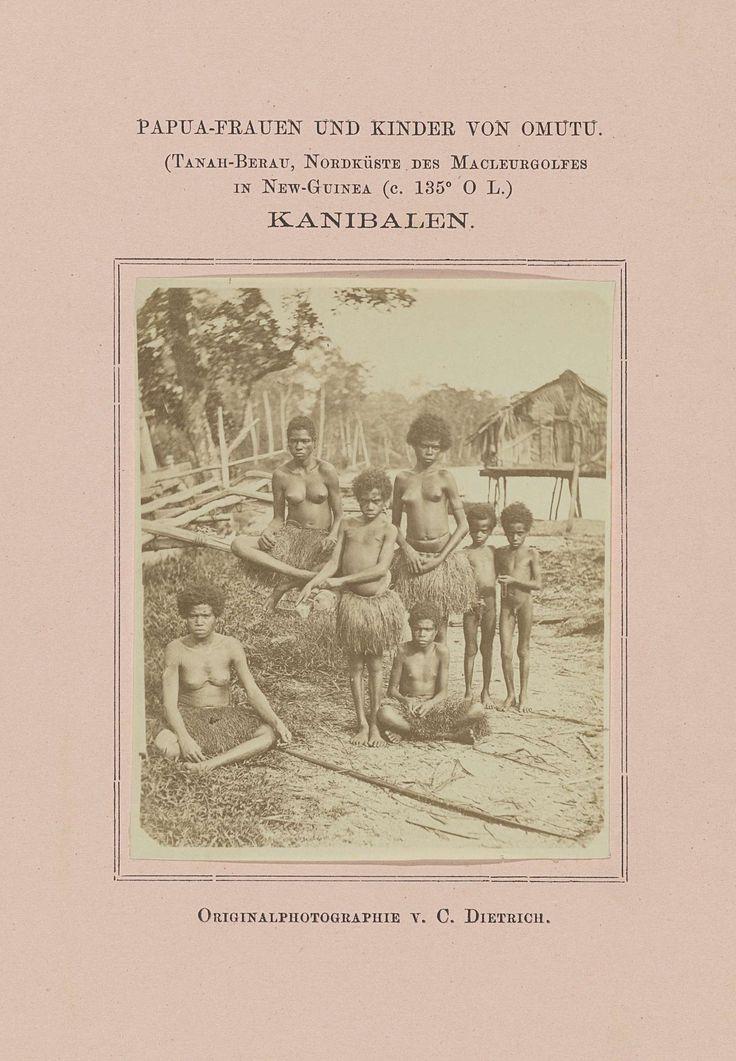 C. Dietrich | Papua-Frauen und Kinder Omutu, Kannibalen, C. Dietrich, 1878 | Portret van Papuavrouwen en kinderen van Omutu, Tanah-Berau, aan de Noordkust van de Macleurgolf in Nieuw-Guinea.