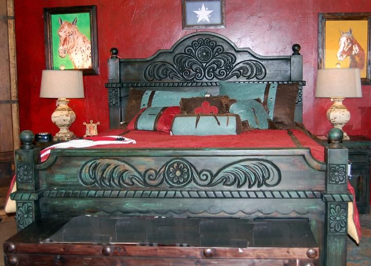 Old Mexico Turquoise Bed Western Headboards Pinterest
