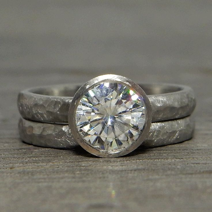 Moissanite Palladium Engagement Ring with Peekaboo Bezel Setting and Matching Wedding Band - Recycled Metal, Forever One G-H-I, ConflictFree by McFarlandDesigns on Etsy https://www.etsy.com/listing/386768922/moissanite-palladium-engagement-ring
