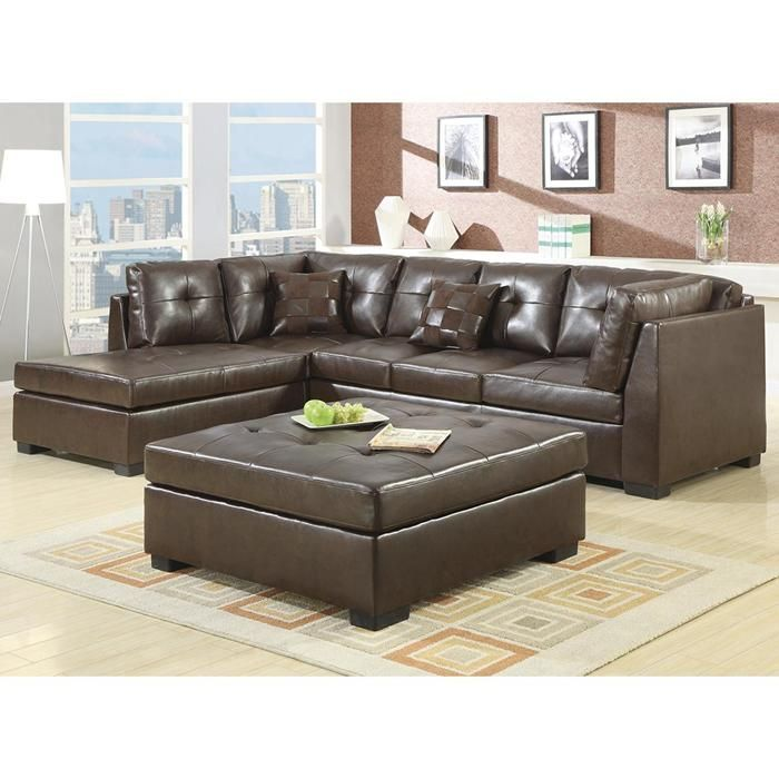 2 Piece Darie Leather Sectional Sofa In Brown
