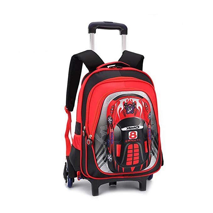8865209260 YUB Car School Bag Drawbars Trolley Bag Backpack with Wheels Rolling  Backpacks for School Kids Waterproof Review