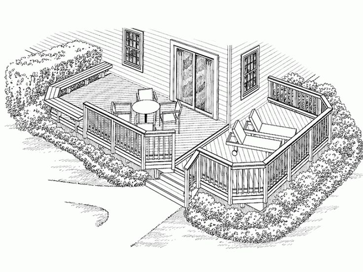 Eplans Deck Plan An L Shaped Bench Accents One Side Of