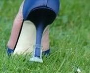Soulmates- they're these protective caps to save your heels when you're going to be in grass or rough terrain- they come in several colors and are totally worth it. Great for outdoor weddings & to give out to guests & bridesmaids.