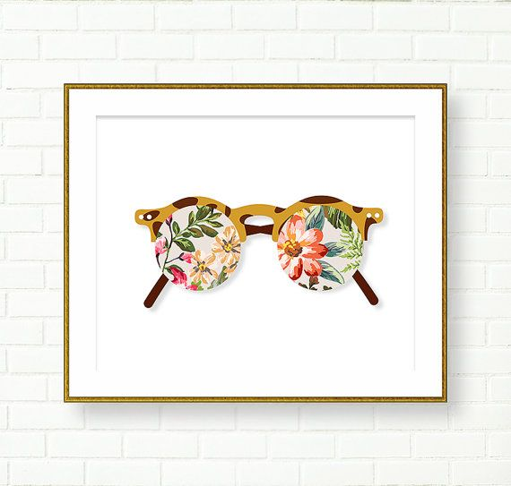 Tropical Inspired Printables Sunnies Sunglasses Floral Vanity Wall Art Collage