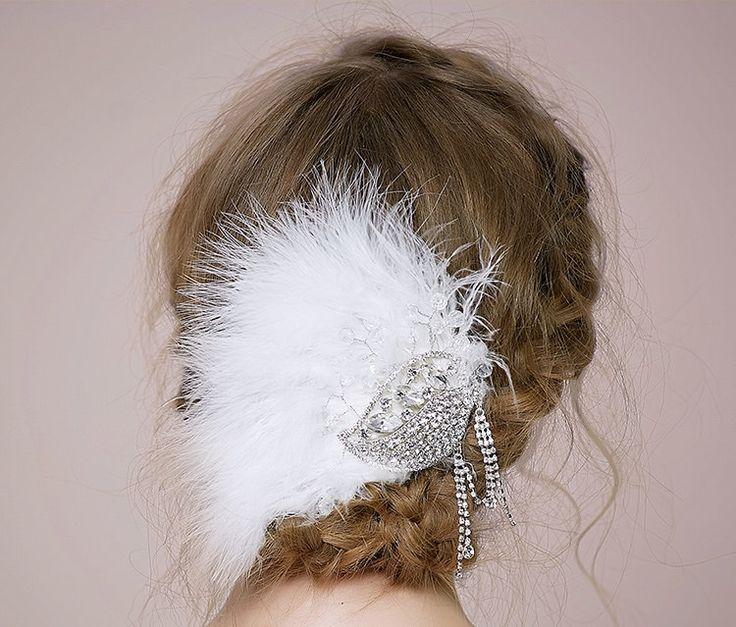 Pure Handmade White Feather  and Crystal Bride Headdress, Shoulder Strap, Hair Pin, Vintage Daily Headpiece, Hair Accessories ,Wedding 1872 by MinervasGate on Etsy