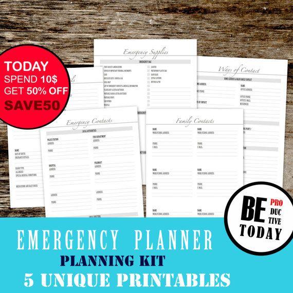Planificador de emergencia emergencia planificación familiar, contactos de emergencia, desastre planificador, suministros de emergencia, planificador introduzca, Filofax, carta A4 A5
